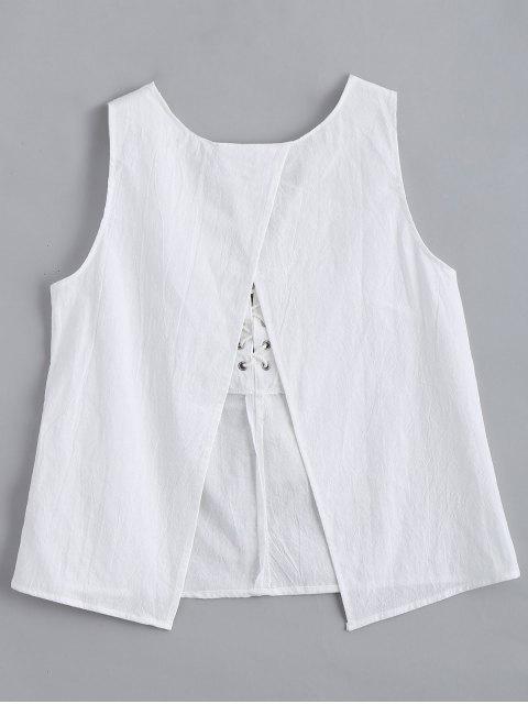 fashion Lace Up Back Slit Tank Top - WHITE XL Mobile
