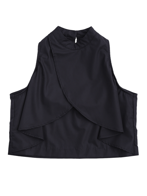 affordable Loose Layered Ruffles Tank Top - BLACK S Mobile