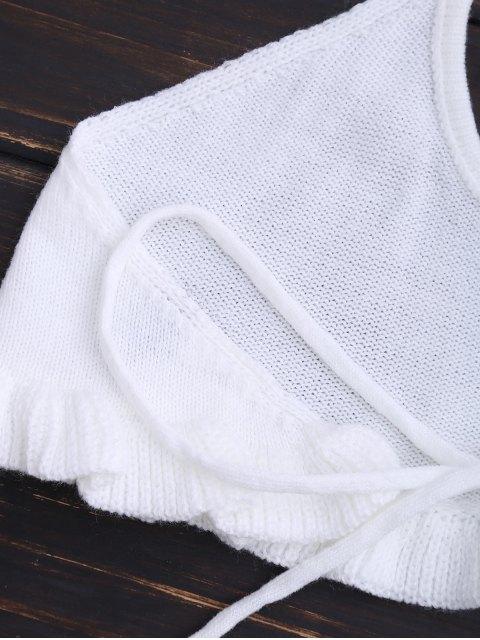 ladies Knitting Ruffles Cropped Tank Top - WHITE S Mobile