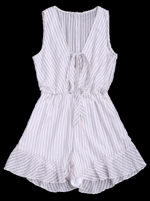 outfit Stripes Ruffles Bowknot Romper - STRIPE 2XL Mobile