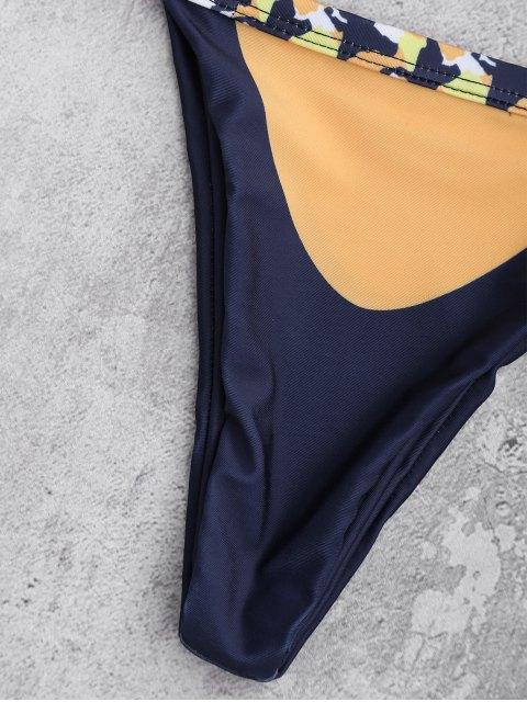 fancy Self Tie Printed Halter Bathing Suit - GINGER L Mobile