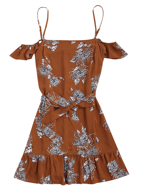 affordable Floral Print Ruffled Belted Cami Dress - FLORAL S Mobile