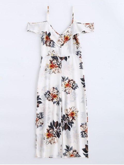lady Floral Print Flounce Cami Jumpsuit - FLORAL S Mobile