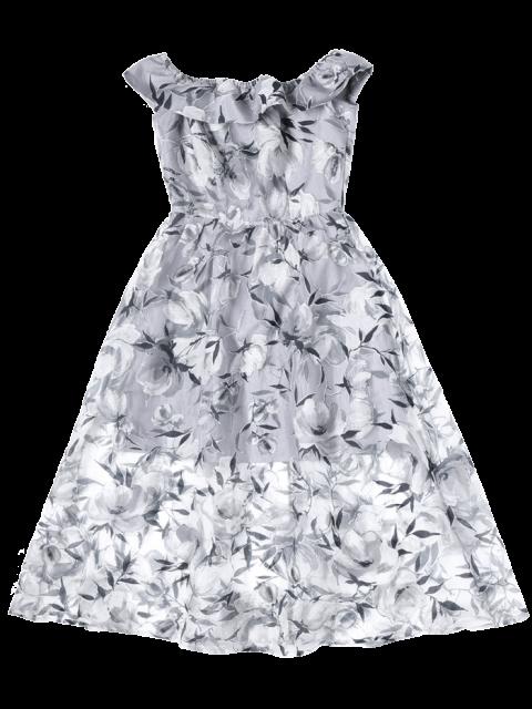 lady Off The Shoulder Floral Tea Length 50s Dress - SMOKY GRAY XL Mobile