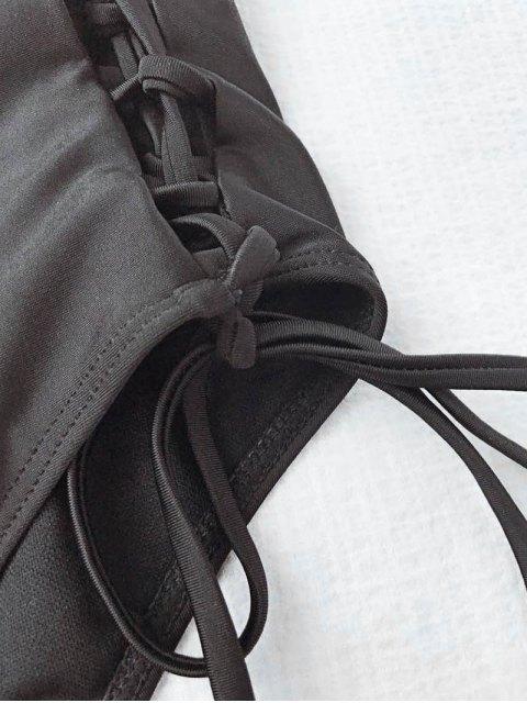 women's Lace Up High Waisted Bandeau Bikini Set - BLACK L Mobile