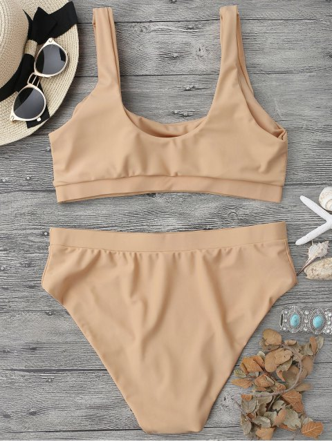 women's Midi Bralette Scoop Bikini Set - YELLOWISH PINK L Mobile