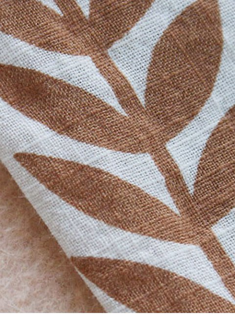buy V Neck Leaves Print Blouse - MULTI ONE SIZE Mobile