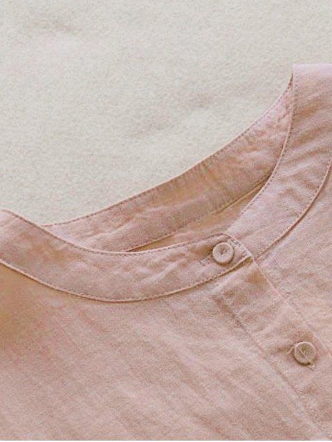womens Drop Shoulder Ruffle Hem Blouse - PINK ONE SIZE Mobile