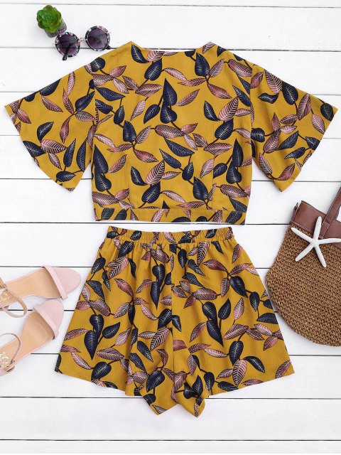 ladies Leaves Print Cropped Wrap Top and High Waisted Lined Shorts - YELLOW M Mobile