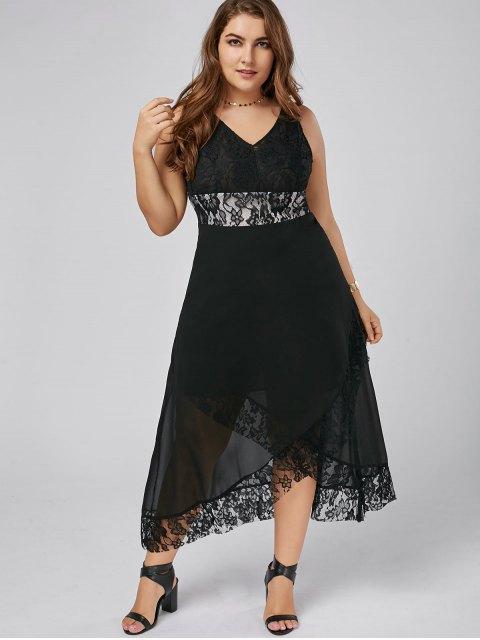 sale Plus Size Lace Trim Tulip Maxi Dress - BLACK 5XL Mobile