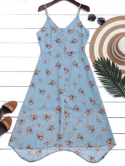 Chiffon Button Up Floral Slip Dress - Floral M
