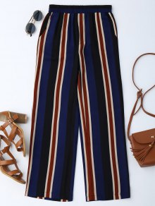 Buy High Waisted Stripes Wide Leg Pants - BLUE L