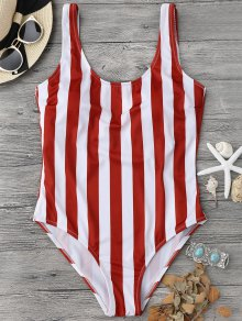 Striped Shaping Padded One Piece Swimsuit - Red With White S