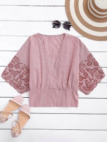 Embroidered Striped Smocked Top