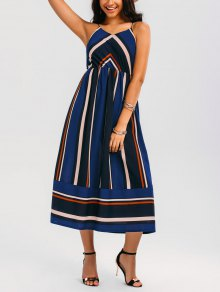Maxi Holiday Sundress With Stripes - Bleu M