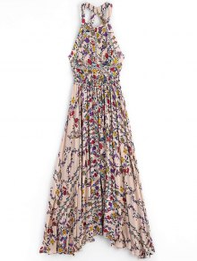 Floral Slit Cut Out Maxi Dress - Floral M