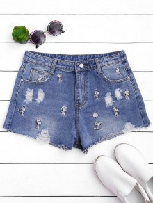Puppy Embroidered Destroyed Denim Shorts
