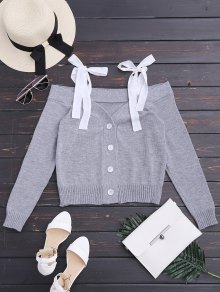 Knitting Button Up Cold Shoulder Top - Gray M