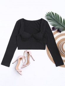 Cropped Cotton Padded Top - Black S