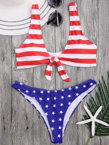 Scoop Front Tied Patriotic Bathing Suit - Stripe M
