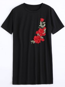 Round Collar Floral Patched Shift Dress - Black L