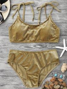 Velvet Padded Bralette Bikini Set - Brown S