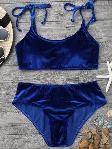 Velvet Padded Bralette Bikini Set - Sapphire Blue L