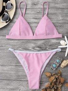 Soft Pad String Bikini Top And Bottoms - Pink L