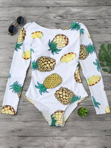 Pineapple Rashguard One Piece Swimsuit - White L