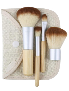 4Pcs Bamboo Facial Makeup Brushes Kit With Bag - Wood