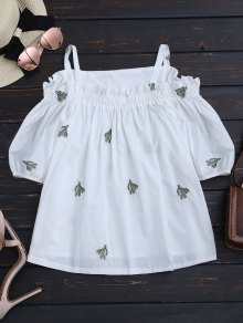 Cacti Embroidered Ruffle Hem Cami Blouse