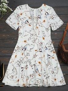 Floral Lace Up A-Line Dress
