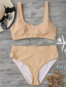 Midi Bralette Scoop Bikini Set - Yellowish Pink M