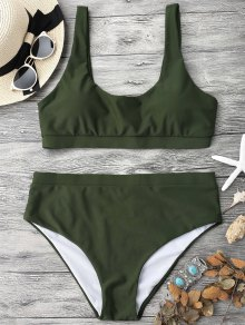 Midi Bralette Scoop Bikini Set - Green M