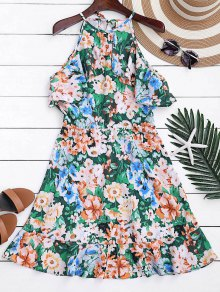 High Neck Ruffles Floral A-Line Dress