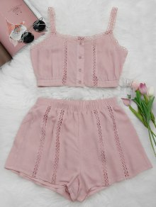 Button Up Openwork Top and Shorts Suit