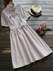 Floral Embroidered Drawstring Flare Dress