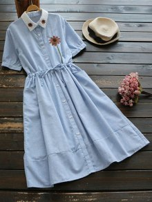 Floral Patched Button Up Striped Dress