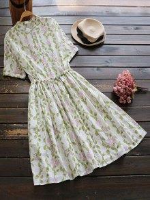 Floral Print Drawstring Flare Dress