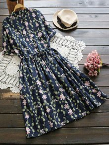 Floral Print Drawstring Flare Dress - Deep Blue