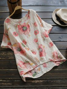 Round Collar Floral Print Blouse