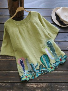 Round Collar Cacti Embroidered Blouse - Yellow Green