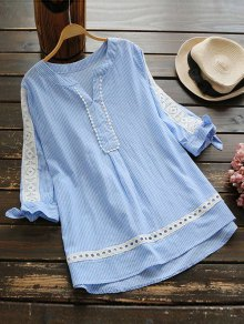 Notched Openwork Striped Blouse