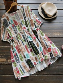 V Neck Leaves Print Blouse