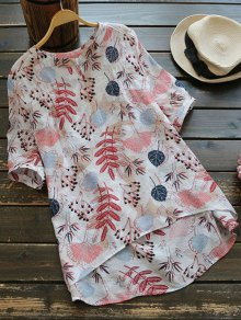 Leaves Print High Low Blouse