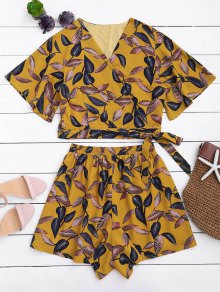Leaves Print Cropped Wrap Top And High Waisted Lined Shorts - Yellow M