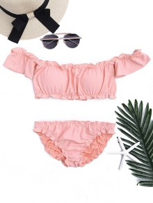 Ruffled Off Shoulder Ruched Bathing Suit - Pink S