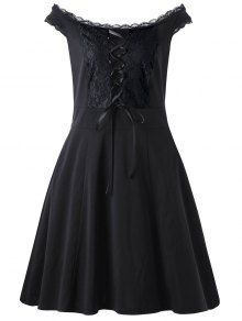 Lace Up Plus Size Mini Dress