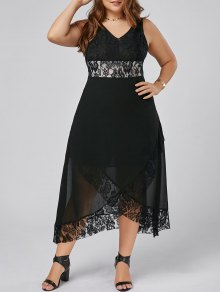Plus Size Lace Trim Tulip Maxi Dress - Black Xl