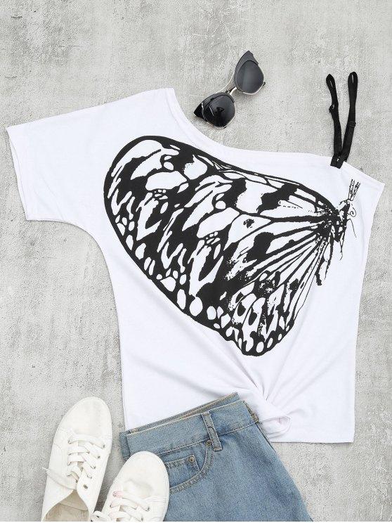 Camiseta del cuello de la inclinación de la impresión de la mariposa - Blanco XL